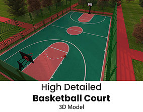 Detailed Outdoor Basketball Court - Low Poly 3D model