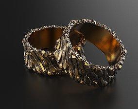 Rough rock facture wedding ring tree 3D printable model 3