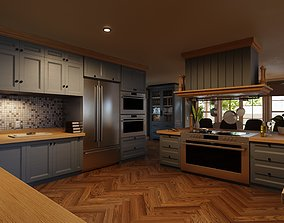 Classic style porch house kitchen furniture pack 3D model