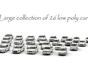 3D asset Large collection of 26 low poly cars