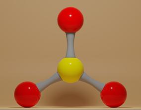 3D asset Sulfur Trioxide Molecule SO3