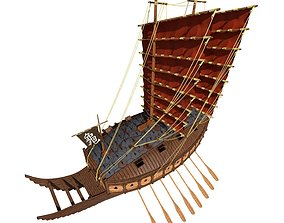 hi-poly 3D model Turtle ship