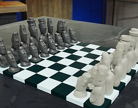 3D printable Moai Chess Set 6 Pieces STL OBJ Blender
