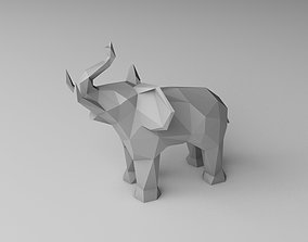 low poly elephant 3D print model