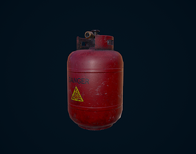 3D asset game-ready Propane Tank explosive