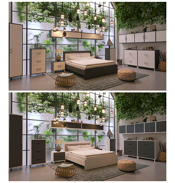 Bed in a interior In the industrial style.