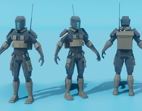 Low poly military robot 3D asset