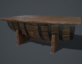 Barrel Table PBR 3D asset
