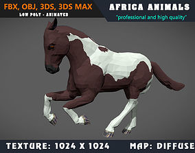 animated Low Poly Horse Paint Cartoon 3D Model Animated 2