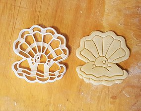 3D print model Shell with pearl cookie cutter