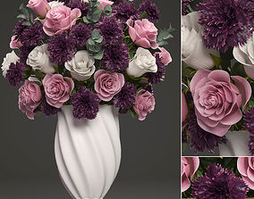 Bouquet of flowers in a vase 3D