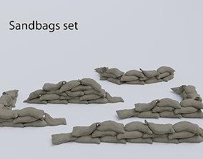 3D asset Sandbags set low poly PBR materials