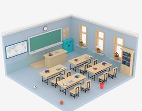 3D asset Lowpoly Cartoon Classroom