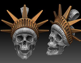 tatto liberty statue skull pendant 3D print model