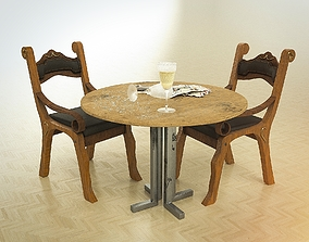 Cheap looking wooden chair and table 3D model dirty