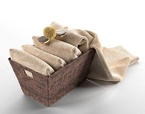 Towels in Basket Composition 3D