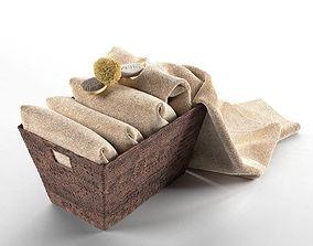 3D Towels in Basket Composition