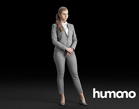 Humano Elegant Woman in gray suit with crossed arms 3D