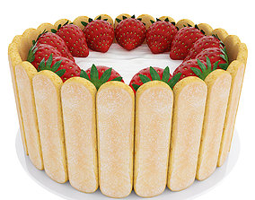 other Strawberry cake with cookies 3D model