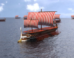 Trireme Greek Warship 3D model animated