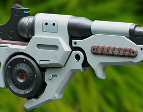 Sci Fi Rifle Low-poly 3D model realtime