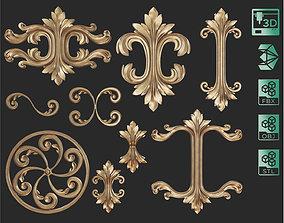 9 Ornament Samples with flat backside 3D print model