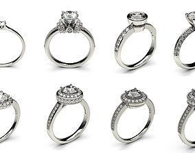8 Solitaire Woman Diamond Ring 3D print model