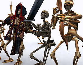 3D asset animated Skeletons swarm pack