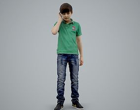 3D model Boy with Green Polo T-Shirt on the Phone