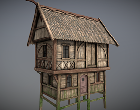 3D model Medieval Lake Village - House 16 with