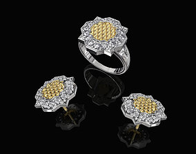 Fancy Earrings and Ring with texture 3D