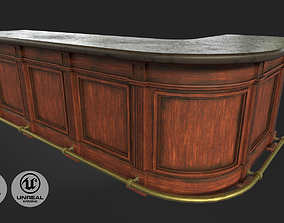 3D model game-ready Vintage Bar Table
