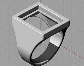 3D print model Mens Gemstone Signet Ring