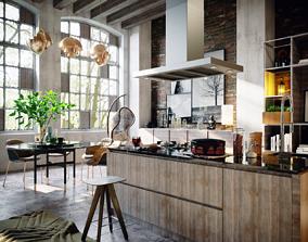 3D Loft interior kitchen