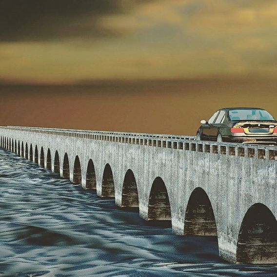 Car on bridge 3d art design