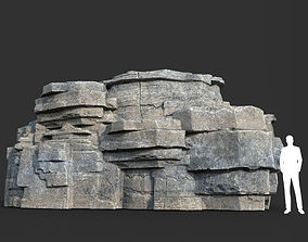 Low poly Blocky Cliff Rock Gray color 09 181122 3D model