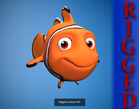3D model blue Cartoon fishes pack