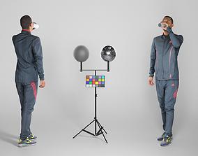 3D asset Man in sportswear drinking water 213