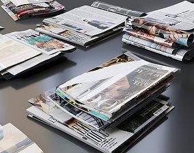 Decorative set of magazines modern 3D asset