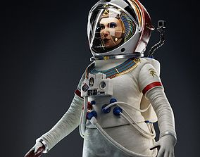 3D Female Pharaoh Astronaut