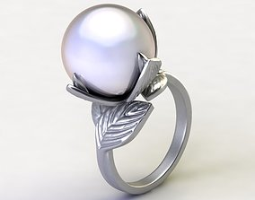 Lotos Ring with Pearl 3D print model