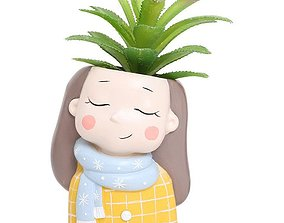 Decoration Planter Pot Cute Girl 5 stl for 3D