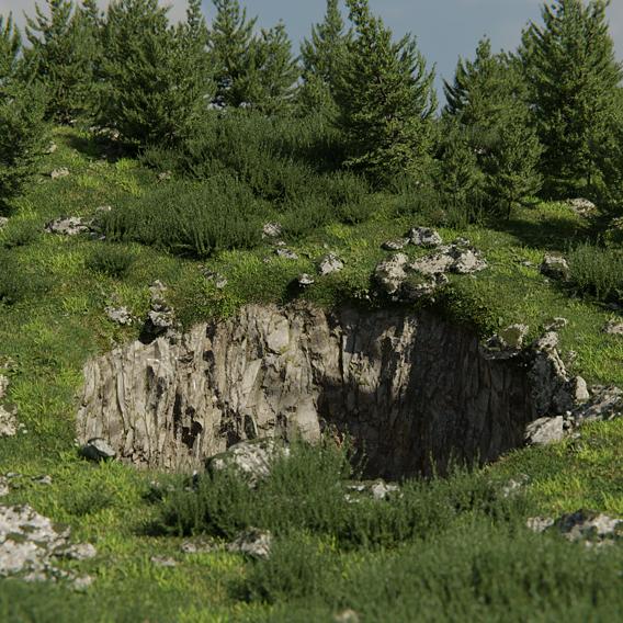Ground Hole scene made in Blender
