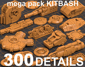 3D model Mega Pack Hard Surface Kitbash 300 DETAILS