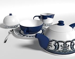 Tea set 3D model realtime