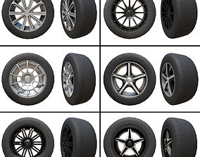 3D asset Pack of Tyres and Alloys - 6 Alloy Wheels and 5 1