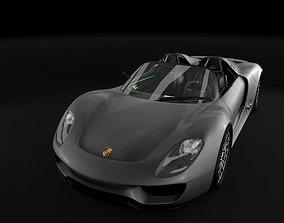 Porsche 918 spyder 3D model asphalt