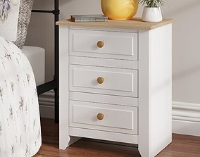 Antonia 3 Drawer Bedside Table 3D