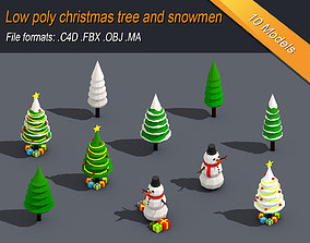 3D model Low Poly Christmas Tree And Snowmen Gift