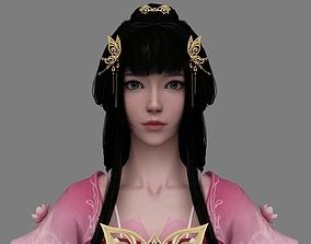 Chinese beauty Woman Female pretty girl lady 3D model 1